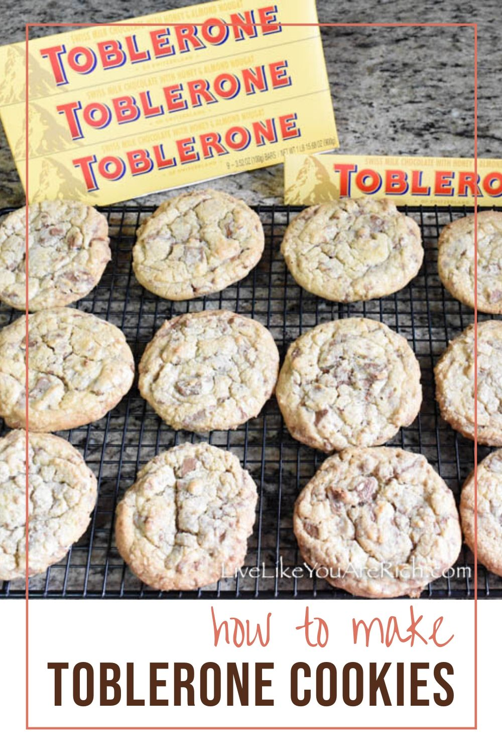 I had the idea to try the Swiss Toblerone chocolate in cookies. I wasn't sure how the nougat bits would taste or if they would melt or stay intact. After giving it a try, I was super glad I did. The little nougat pieces add the tiniest bit of crunch. They taste amazing! #tobleronecookies #cookies #dessert