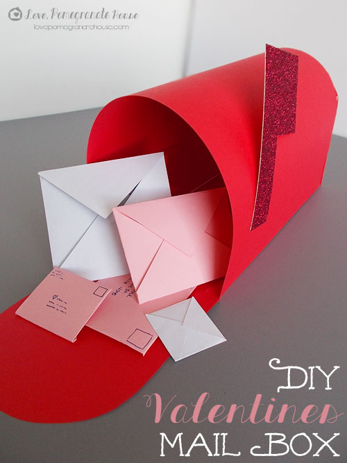 Red and Glitter Valentines mailbox