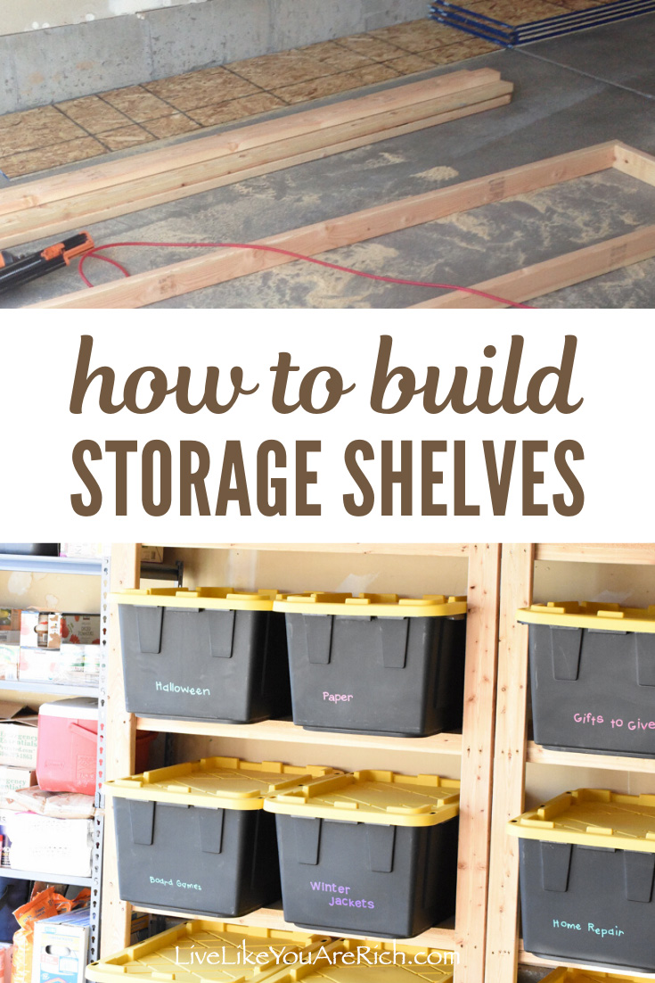 My garage had very little storage and as a result, organizing it was very difficult. I researched how to maximize the storage space in a garage and decided to put in wood storage shelves that custom fit storage bins I had. #woodstorage #diy