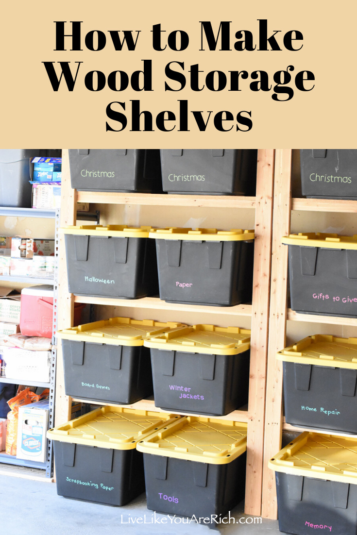 My garage had very little storage and as a result, organizing it was very difficult. I researched how to maximize the storage space in a garage and decided to put in wood storage shelves that custom fit storage bins I had. #diy #woodstorage
