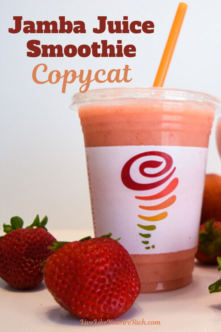 This Jamba Juice Caribbean Passion Smoothie Copycat recipe is creamy and delicious! Made with mango passion juice, frozen peaches, strawberries, and orange sherbet. #jambajuice #smoothie