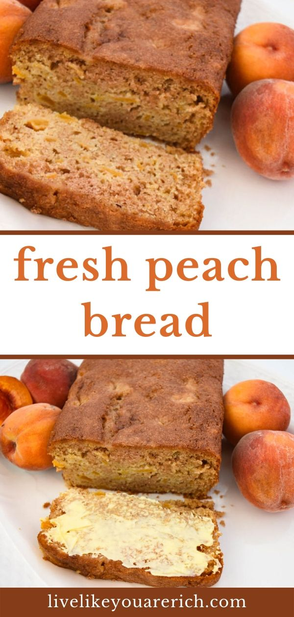 This Delicious Peach Bread Recipe is quite easy to make. It is nice and soft with bits of peaches to bite into. The peaches are complimented well by vanilla and cinnamon sugar flavors. It's a wonderful way to enjoy summer's best peaches!
