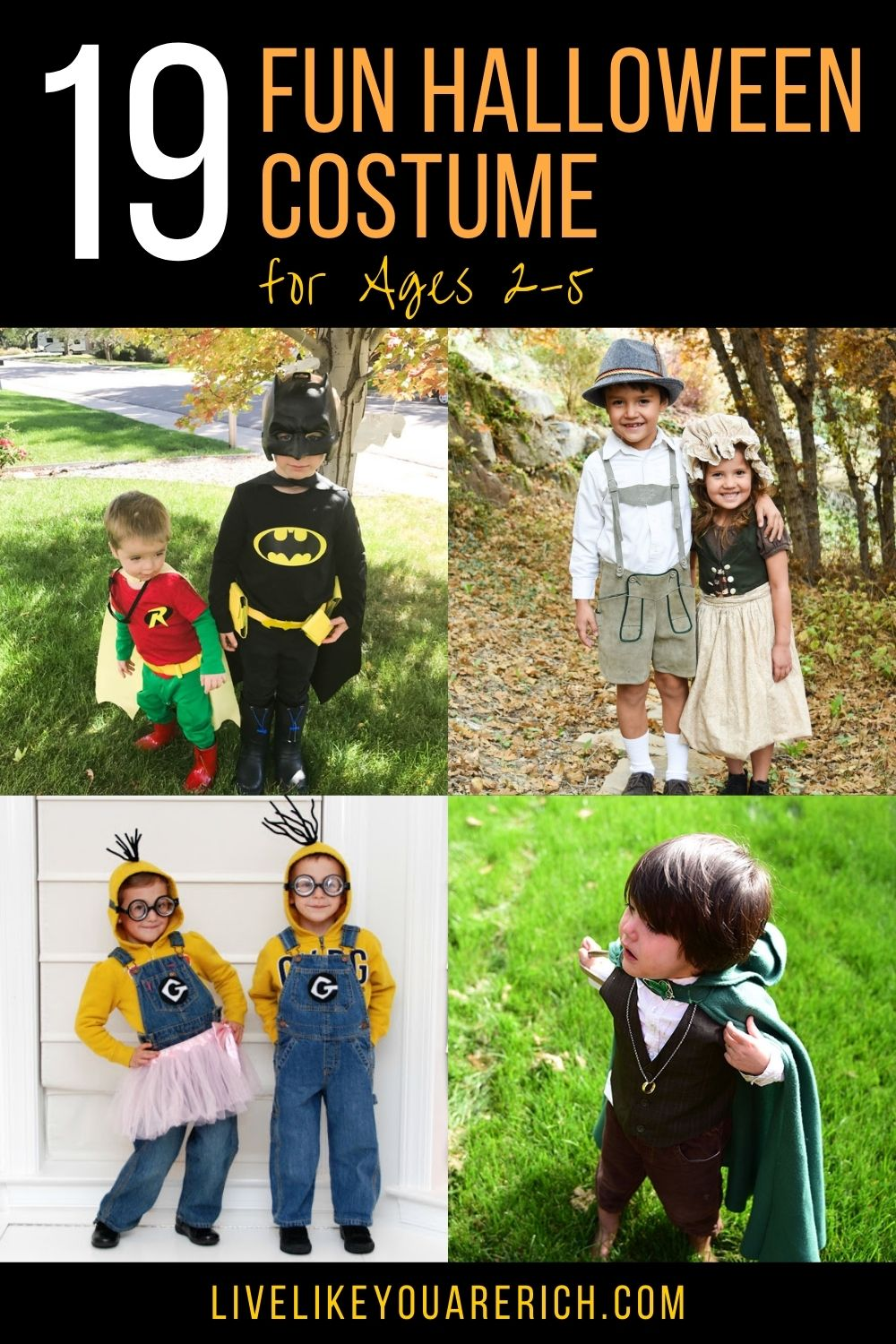 These 19 fun Halloween costumes for kids are inexpensive, easy to make, and totally awesome! I've rounded up some great ones that are not o only darling, creative, and cute but are also inexpensive(and a few of them are quite easy to make). #halloween #halloweencostumes #funhalloweencostumes