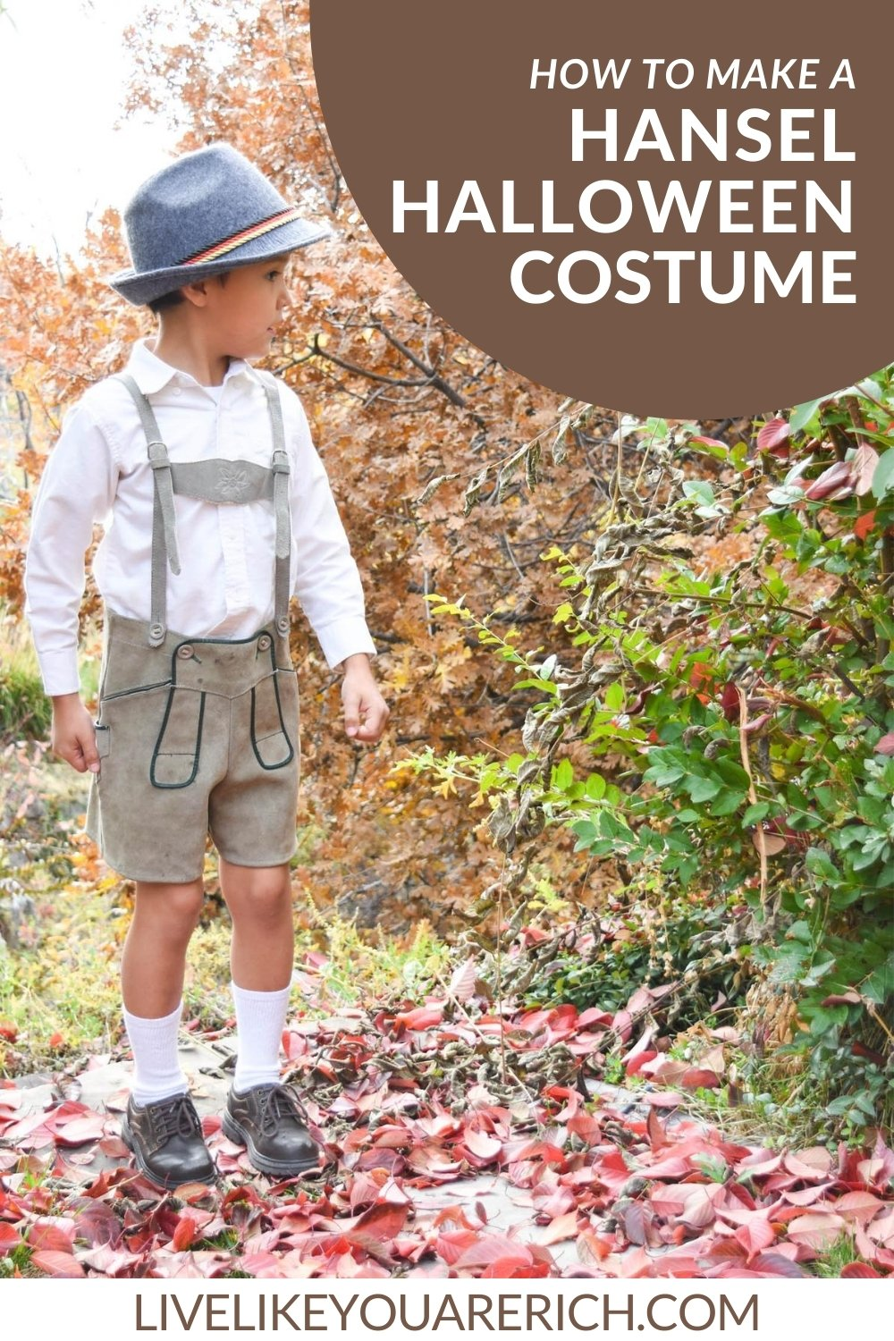 Having Live in Germany for over a year, I had fun making this Hansel costume from Grimm's Fairytales. It was an easy Halloween costume to put together.
