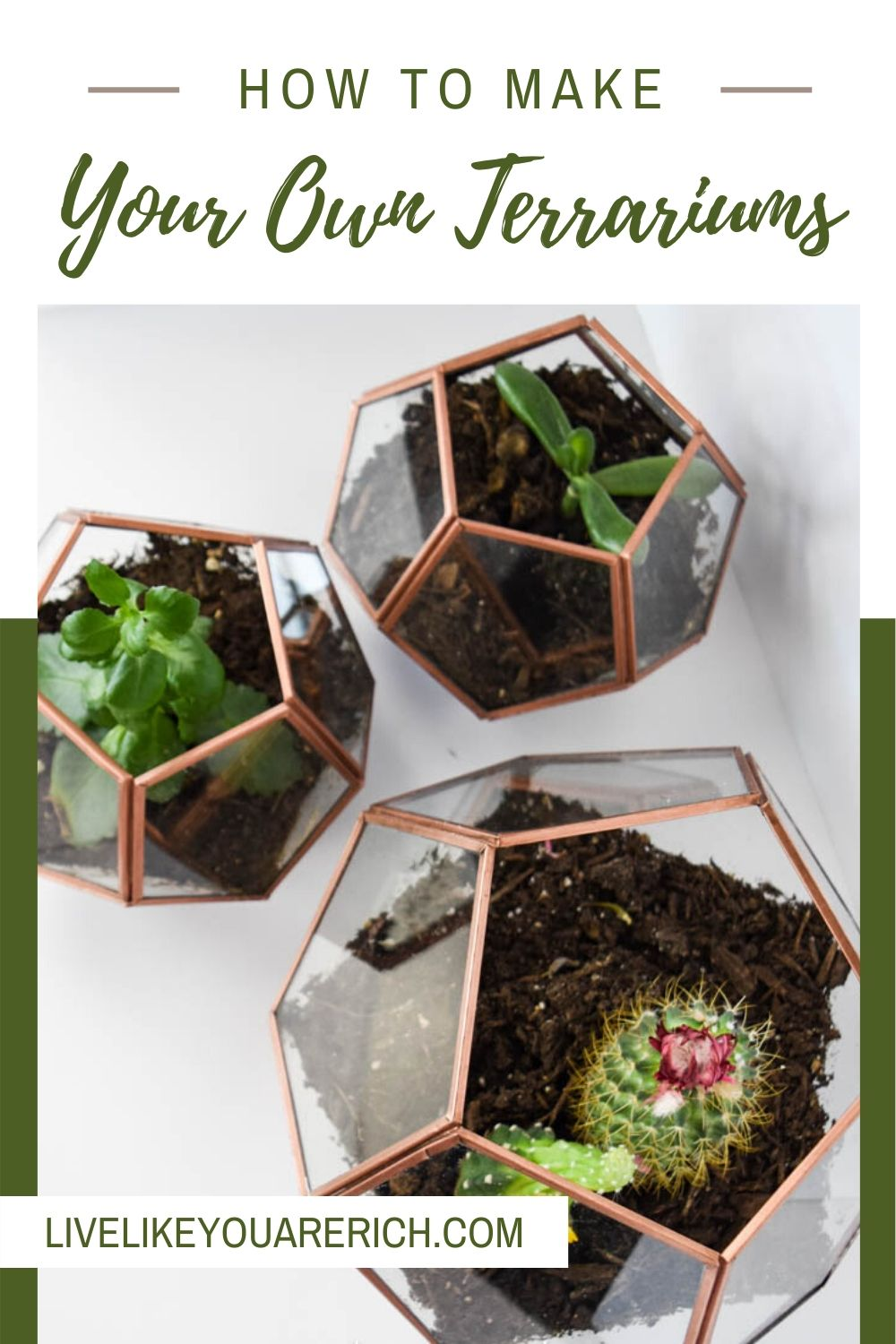This DIY Copper Geo Terrariums has been a great DIY project and decor for my home. They were easy to make and only took about 20 minutes each.