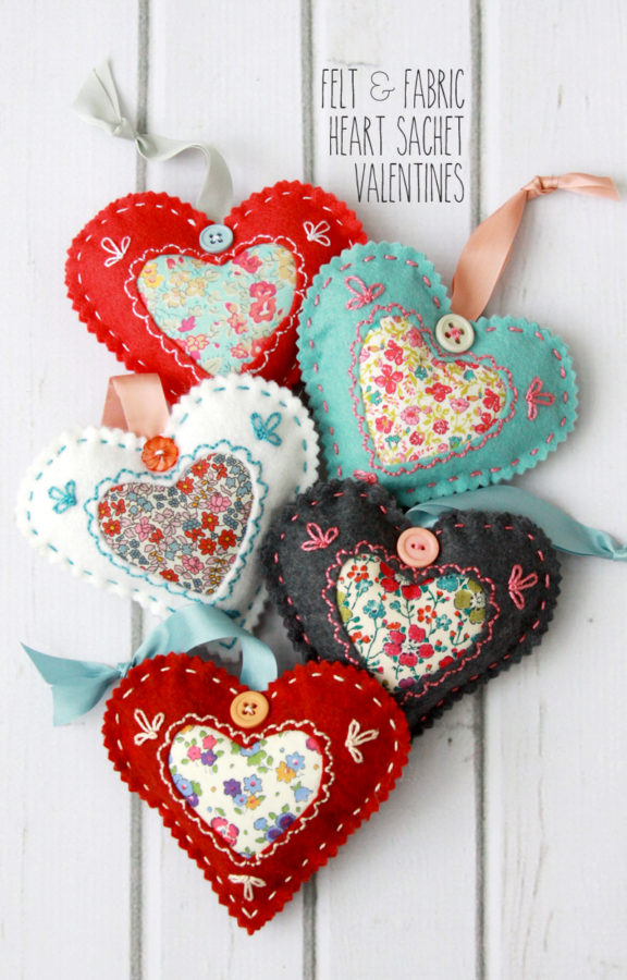 Felt and Fabric Heart Sachet Valentines