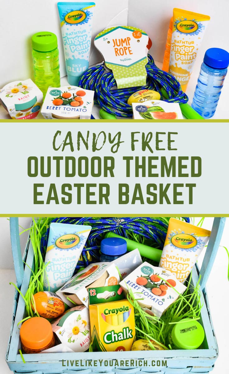 This Candy Free Outdoor Themed Easter Basket gives you some ideas of how to create a fun, affordable, outdoor-activities Easter basket that is candy free! #easterbasket #easter