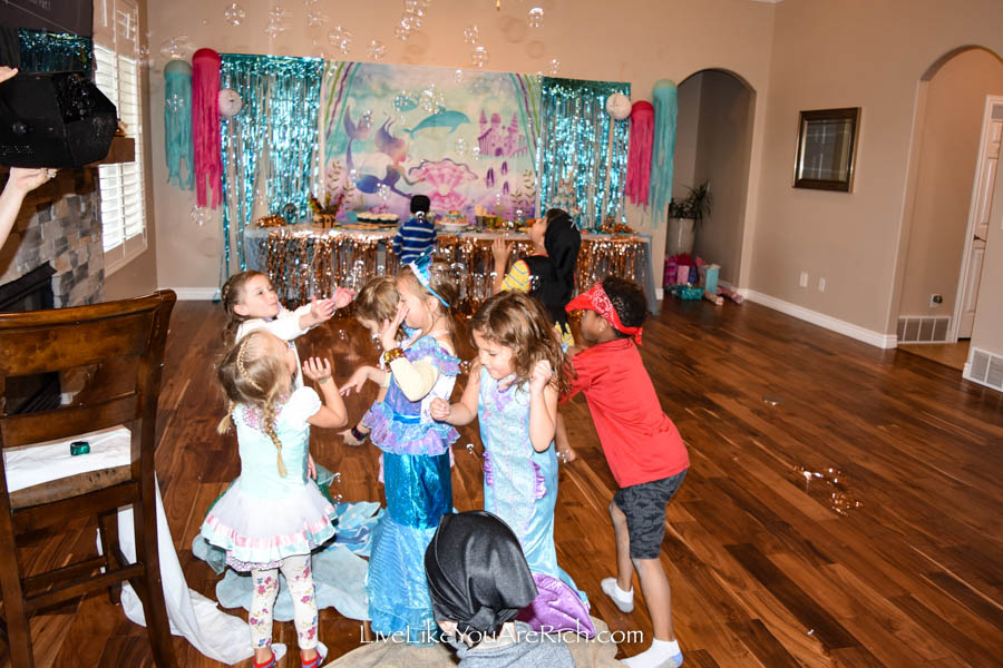 mermaid party activities bubble popping