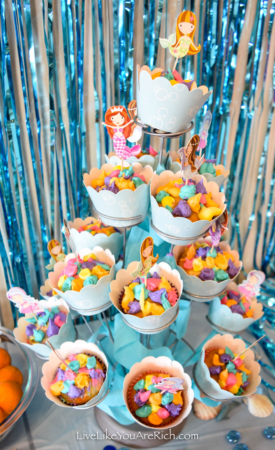 Mermaid Under the Sea Party: Food - Mermaid Coral Cupcakes