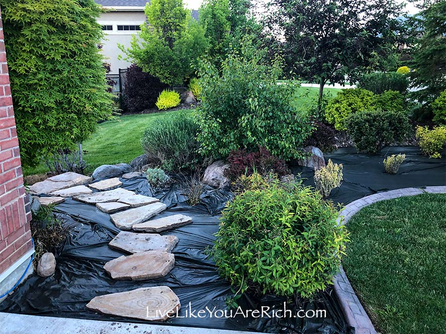 Maintenance-free Weedless Flower Beds in 10 steps mid process