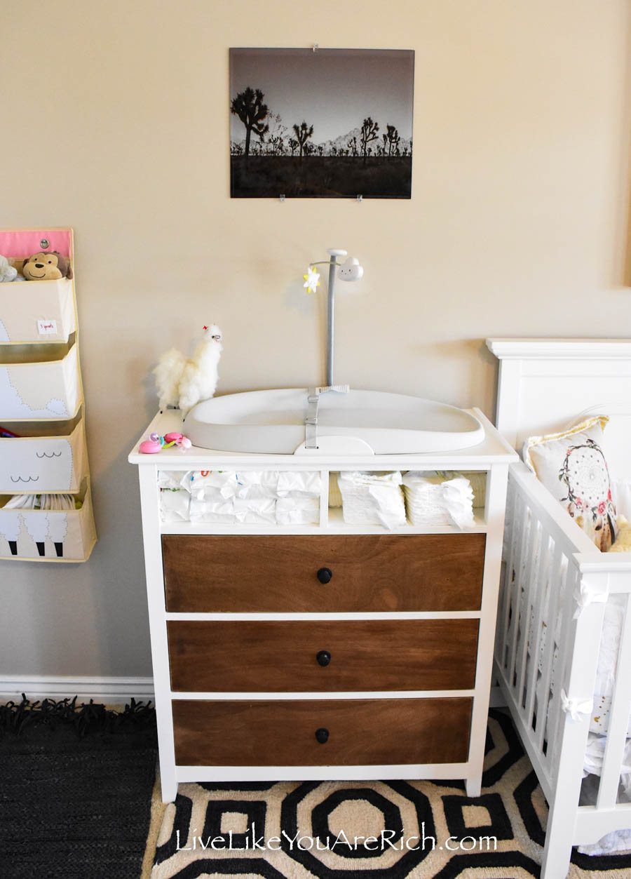 Baby Girl Llama Alpaca Nursery changing table