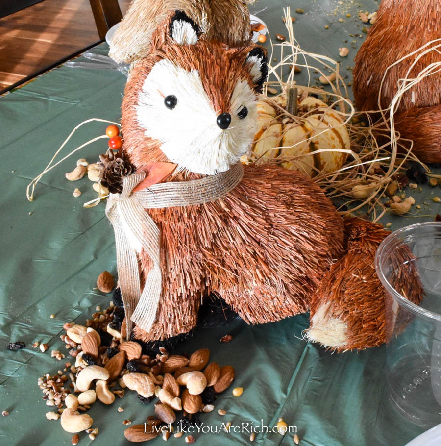 straw fox gather food for winter tablescape