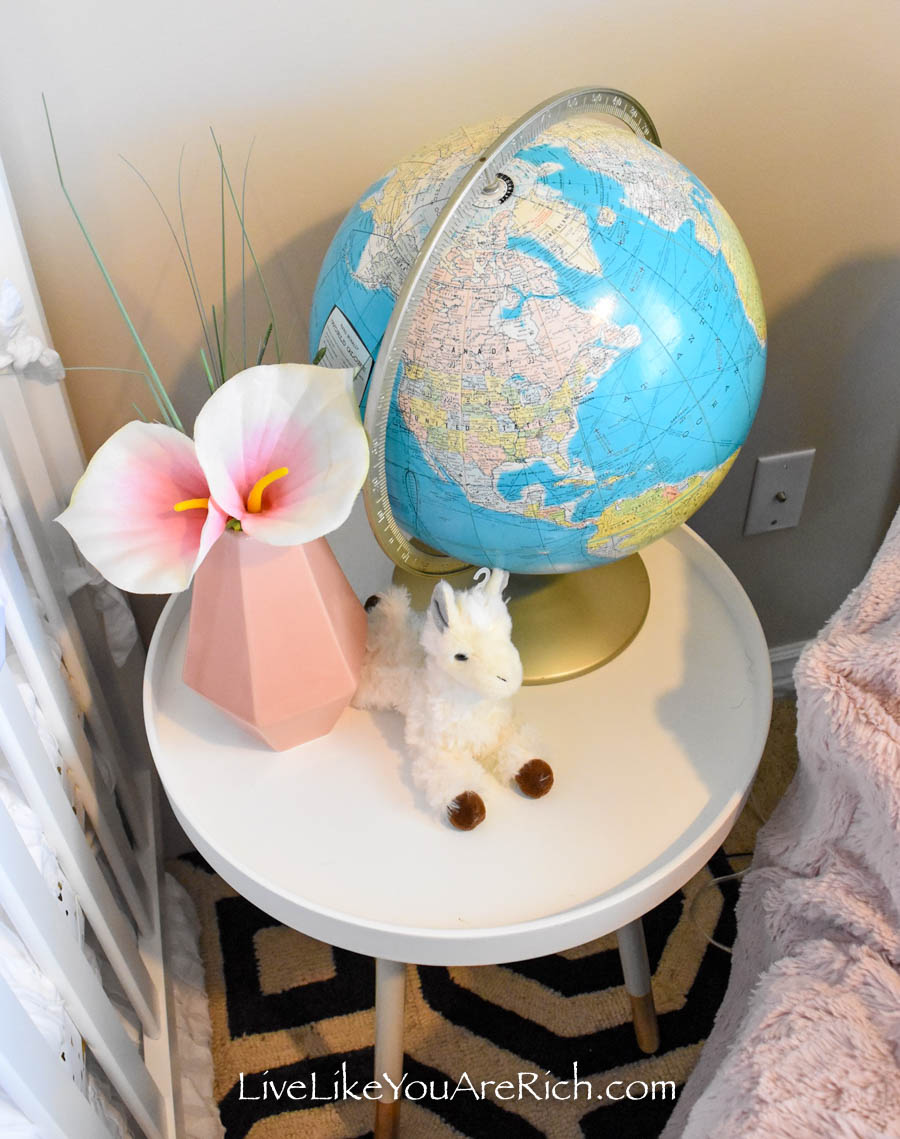 vintage globe blue and pink