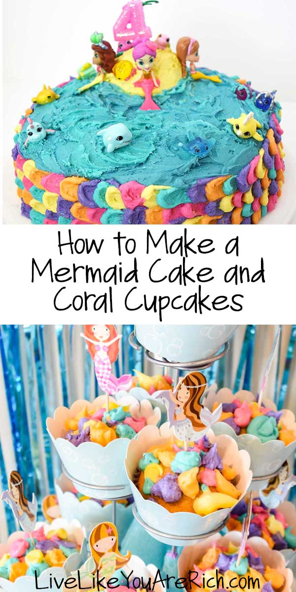 How to Make a Mermaid Cake and Coral Cupcakes.