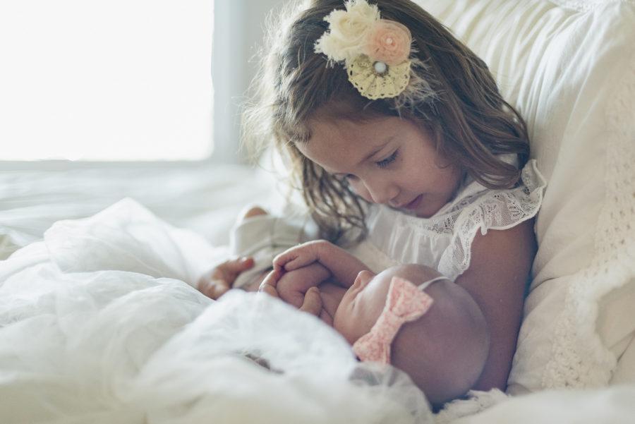 Aurora holding Amelia