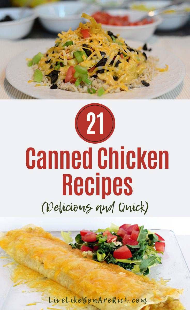 I have A LOT of canned chicken. I realized that I need to make more meals with it—especially since it is a convenient and inexpensive way to add protein to a meal. So, I went on a canned-chicken-recipe hunt in Pinterest. I found some excellent recipes, and I thought I'd share them with you. #chicken #cannedchickenrecipes