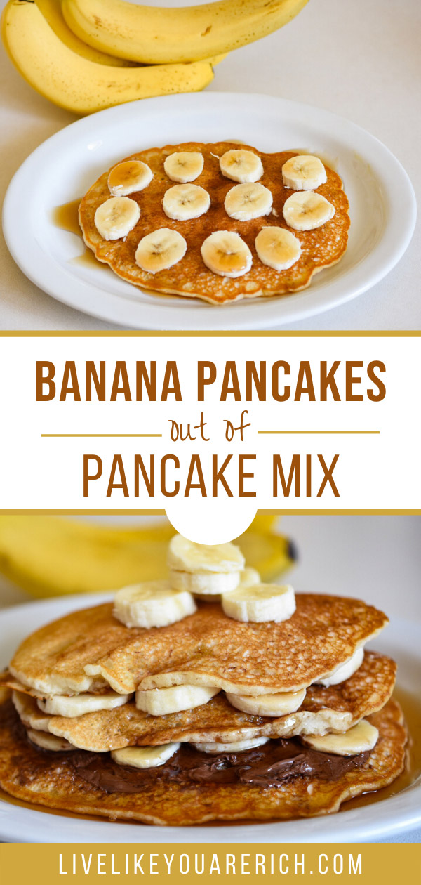 This recipe can be prepped in just a few minutes! Excellent with a variety of toppings: peanut butter, Nutella, honey, syrup, butter, jelly, fresh fruit, and/or whipping cream. #breakfast #pancakes #bananapancake
