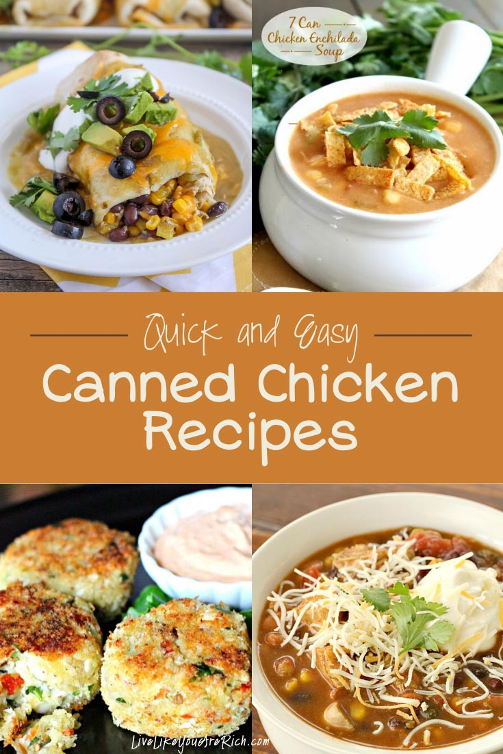 I have A LOT of canned chicken. I realized that I need to make more meals with it—especially since it is a convenient and inexpensive way to add protein to a meal. So, I went on a canned-chicken-recipe hunt on Pinterest. I found some excellent recipes, and I thought I'd share them with you. #chicken #cannedchickenrecipes