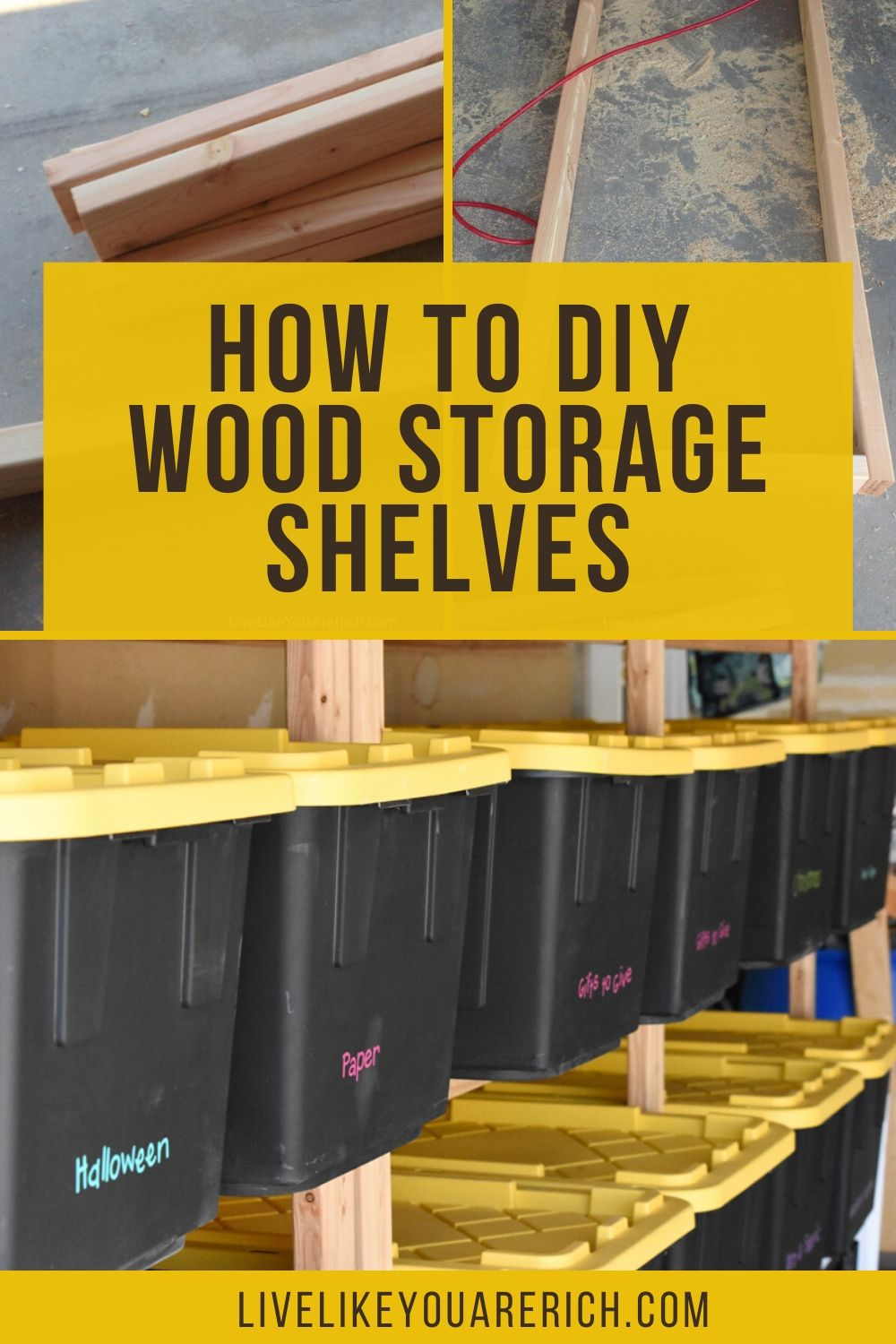 My garage had very little storage and as a result, organizing it was very difficult. I researched how to maximize the storage space in a garage and decided to put in wood storage shelves that custom fit storage bins I had.