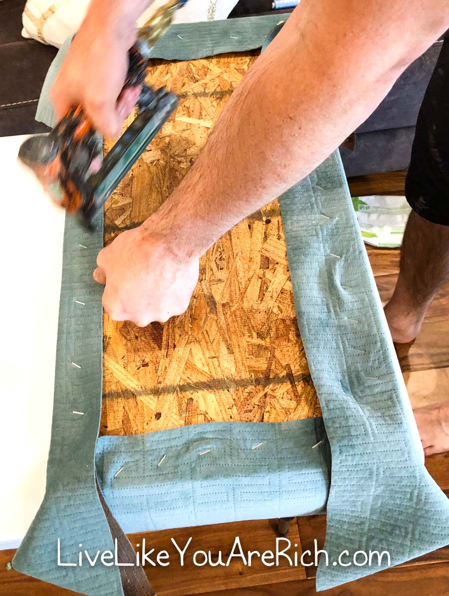 stapling fabric to bench seat