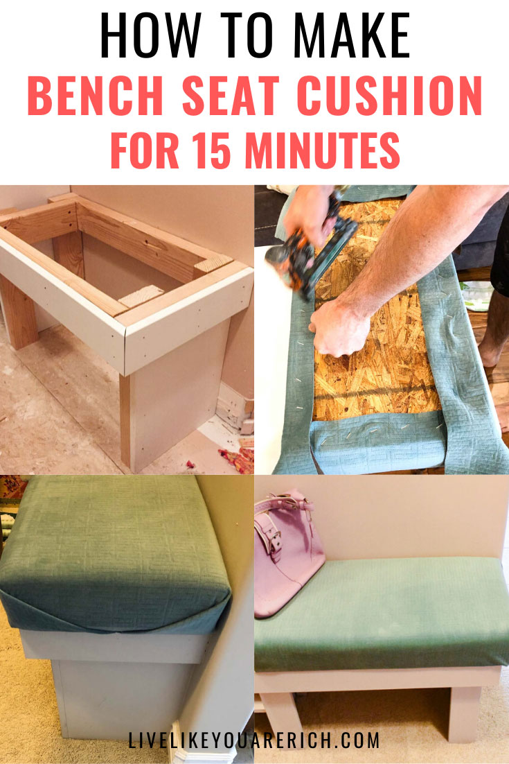 Making a DIY Bench Seat Cushion was super easy to do! After gathering the materials, it only took me about 15 minutes to make. I know you can make one too. #diy #bench #seatcushion