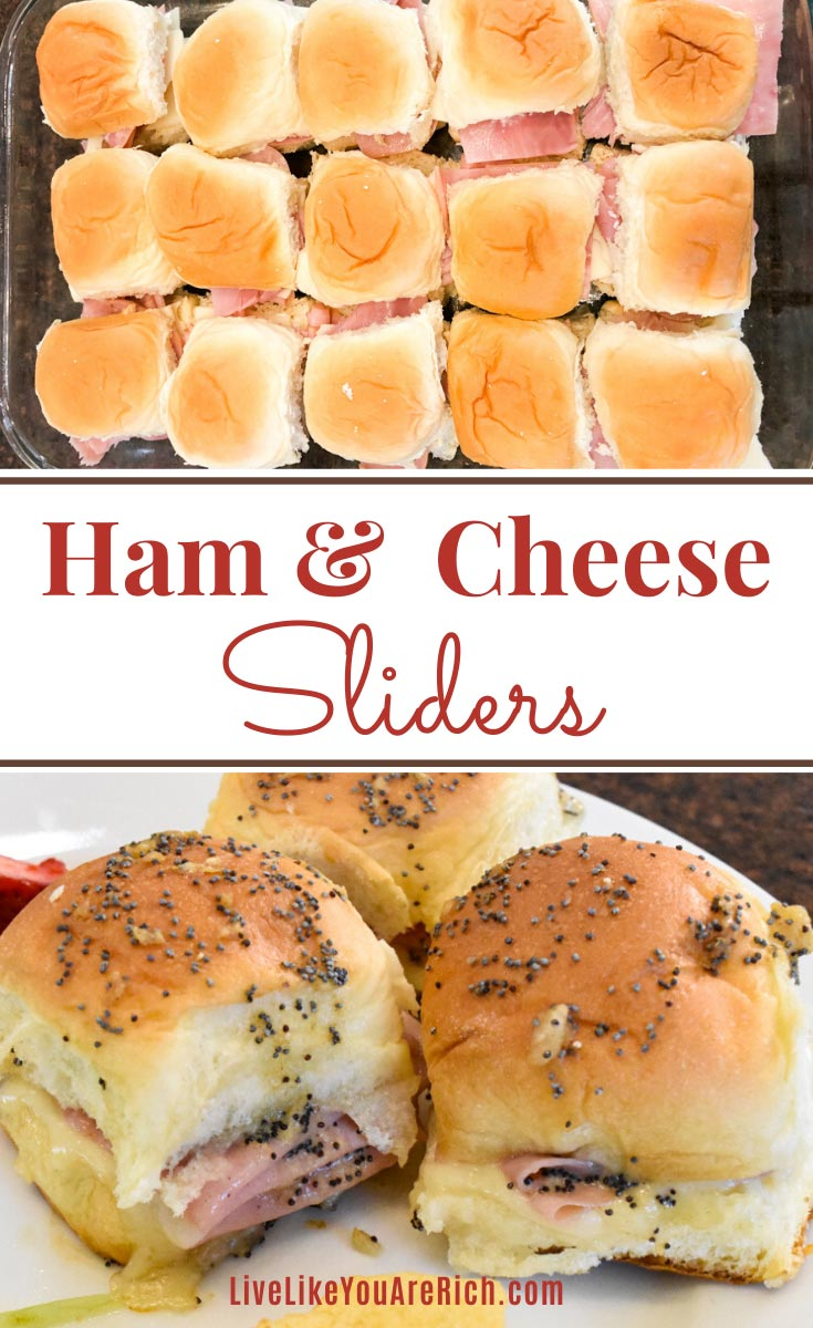 These Ham and Cheese Poppy Seed Sliders bring a gourmet taste to the traditional ham and Swiss slider. They are a huge crowd-pleaser. Great for a luncheon, potluck, or even dinner! #hamandcheese #hamandswissslider