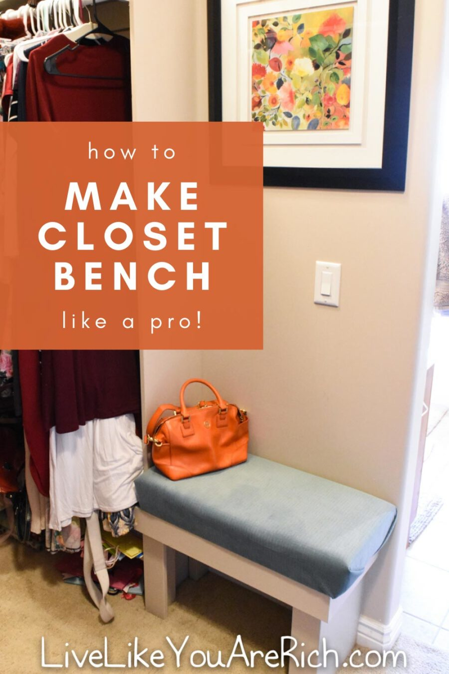 When remodeling a master closet, you may consider having an additional bench seat. This tutorial outlines how to make a closet bench similar to ours. #diy #bench #closet