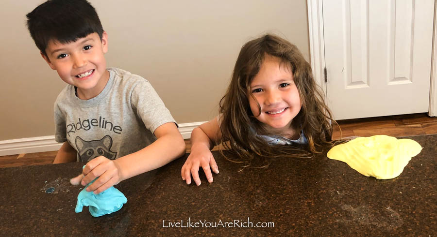 kids playing with homemade play dough