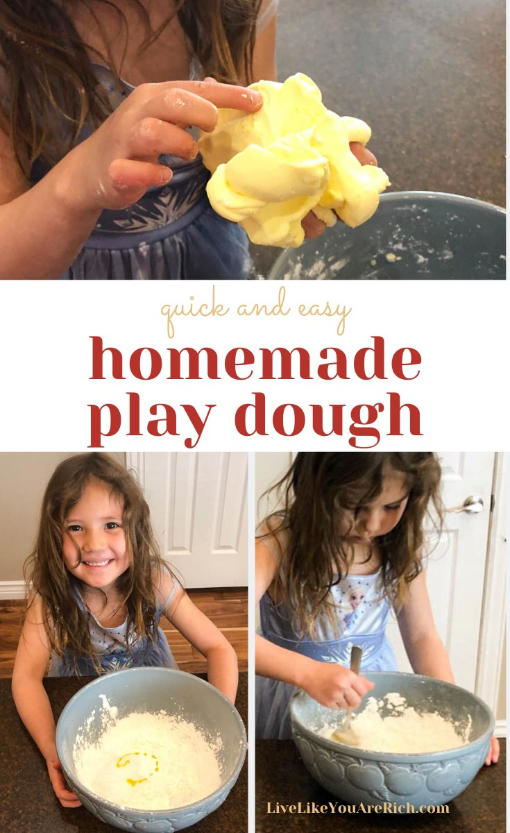 If you are looking for a FUN quick activity to do with kids, this 1 minute homemade play dough is a fun sensory project that will keep kids entertained for hours. It only requires 3 common household ingredients is easy, quick to make, nice to touch and inexpensive. #activitiesforkids #kidsactivities #playdough
