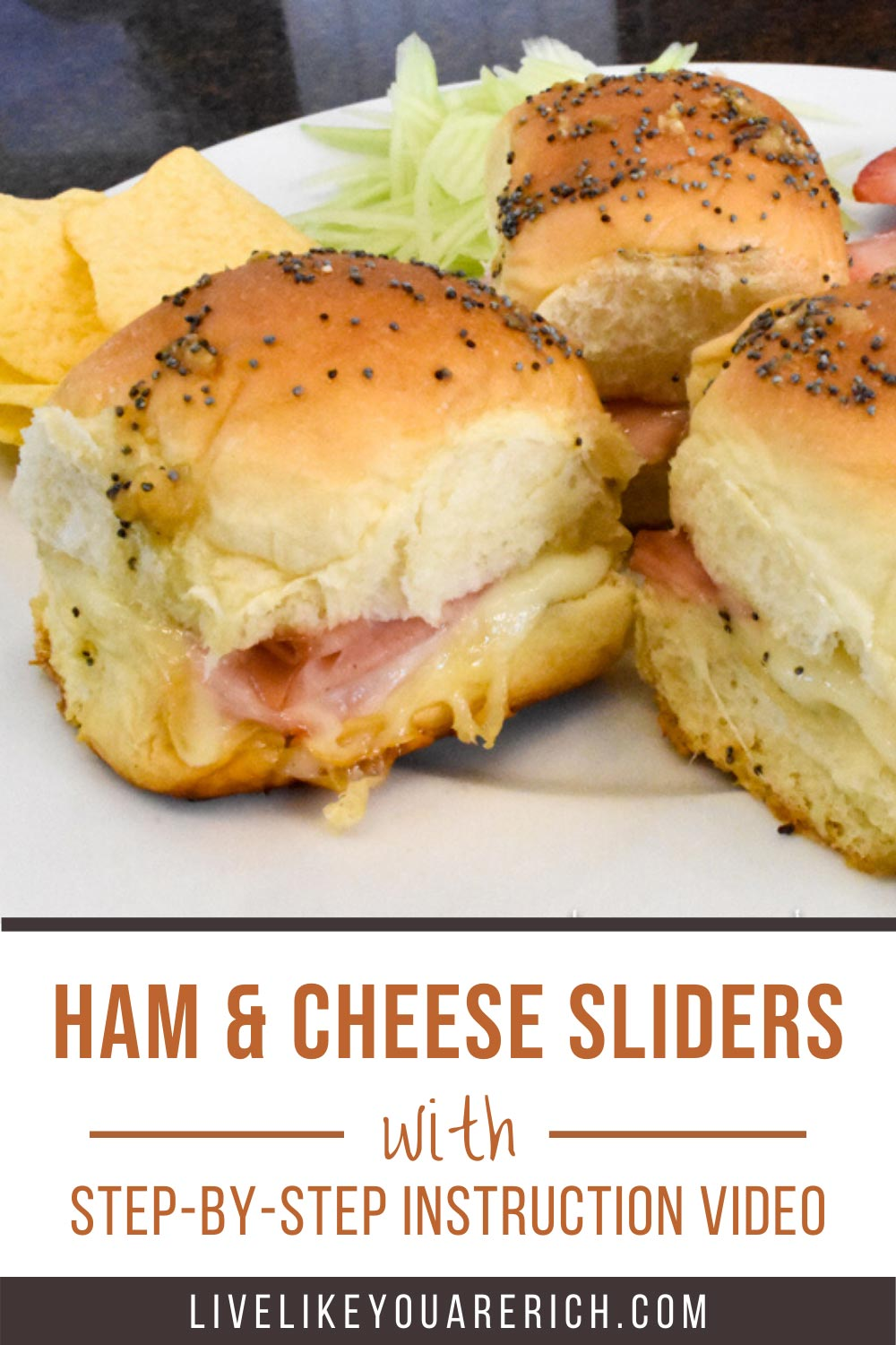 These Ham and Cheese Poppy Seed Sliders bring a gourmet taste to the traditional ham and Swiss slider. They are a huge crowd-pleaser. Great for a luncheon, potluck, or even dinner! #hamandcheese #hamandswissslider  #hamandcheesesliders