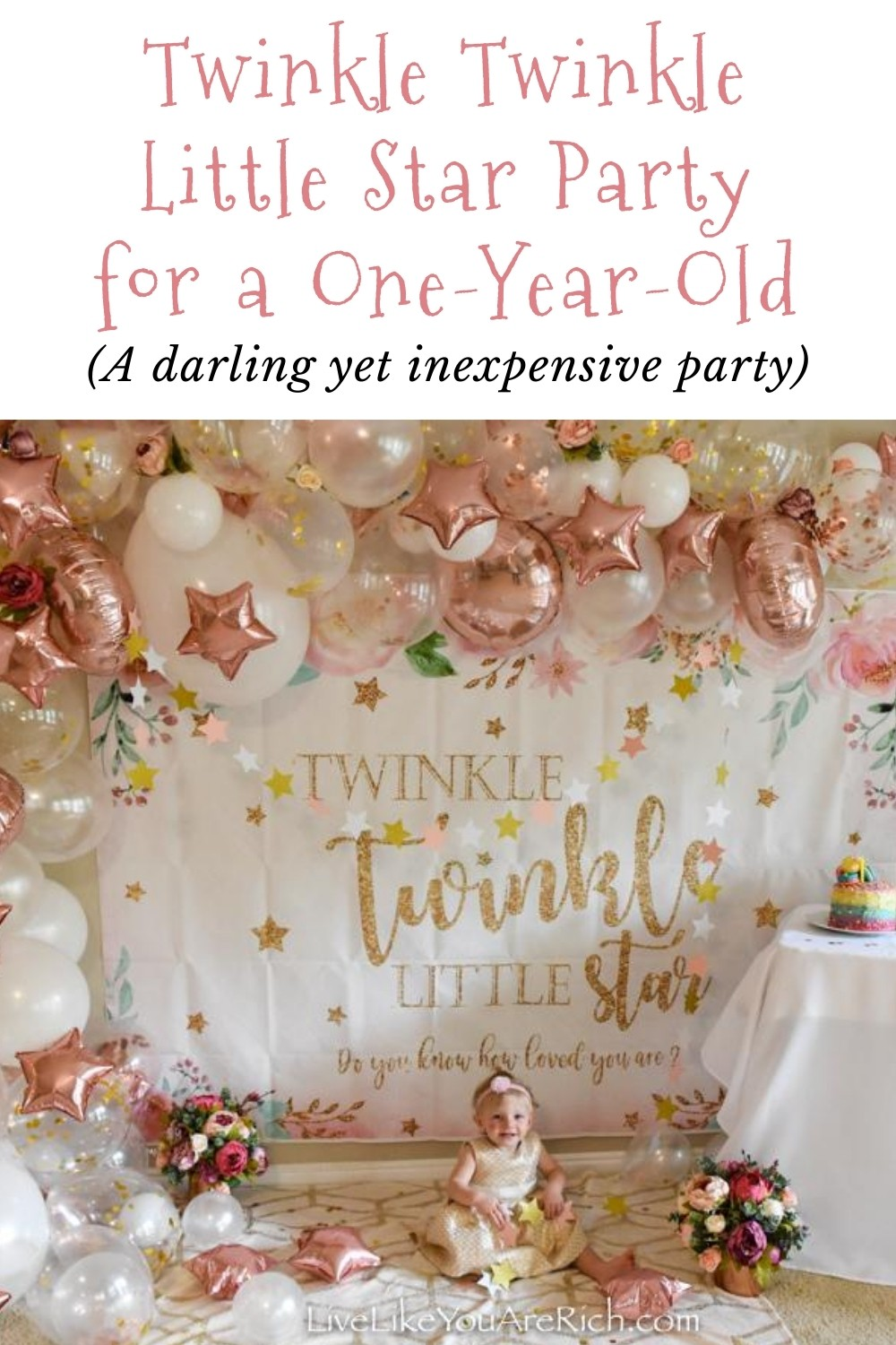 "Our daughter, Amelia, loves the song ""Twinkle Twinkle Little Star"". When ever it plays or I sing it, she""sings"" along with. I wanted to celebrate her one year old birthday by doing this Twinkle Twinkle Little Star party for a one-year-old. This party was fairly simple to put together and was not too expensive either."
