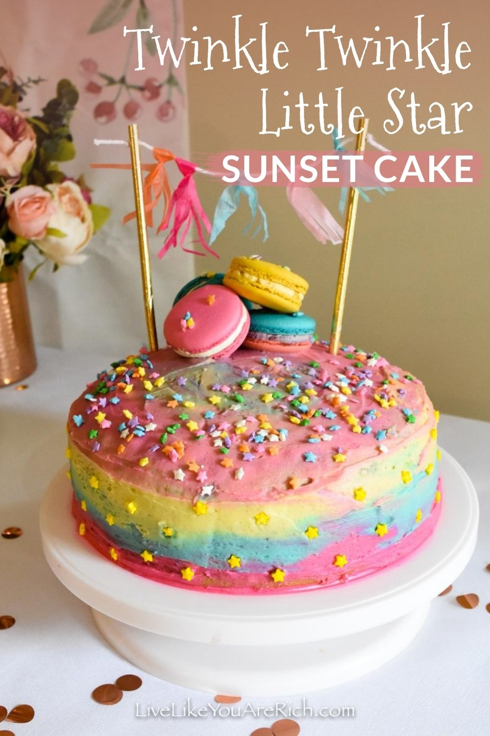"I was planning a Twinkle Twinkle Little Star Party for my one year old's first birthday. My decor called for color. So, I decided that since you can sometimes see a few bright stars at sunset, I would make two Twinkle Twinkle Little Star ""Sunset Cake"". They were very simple to make and turned out quite cute."
