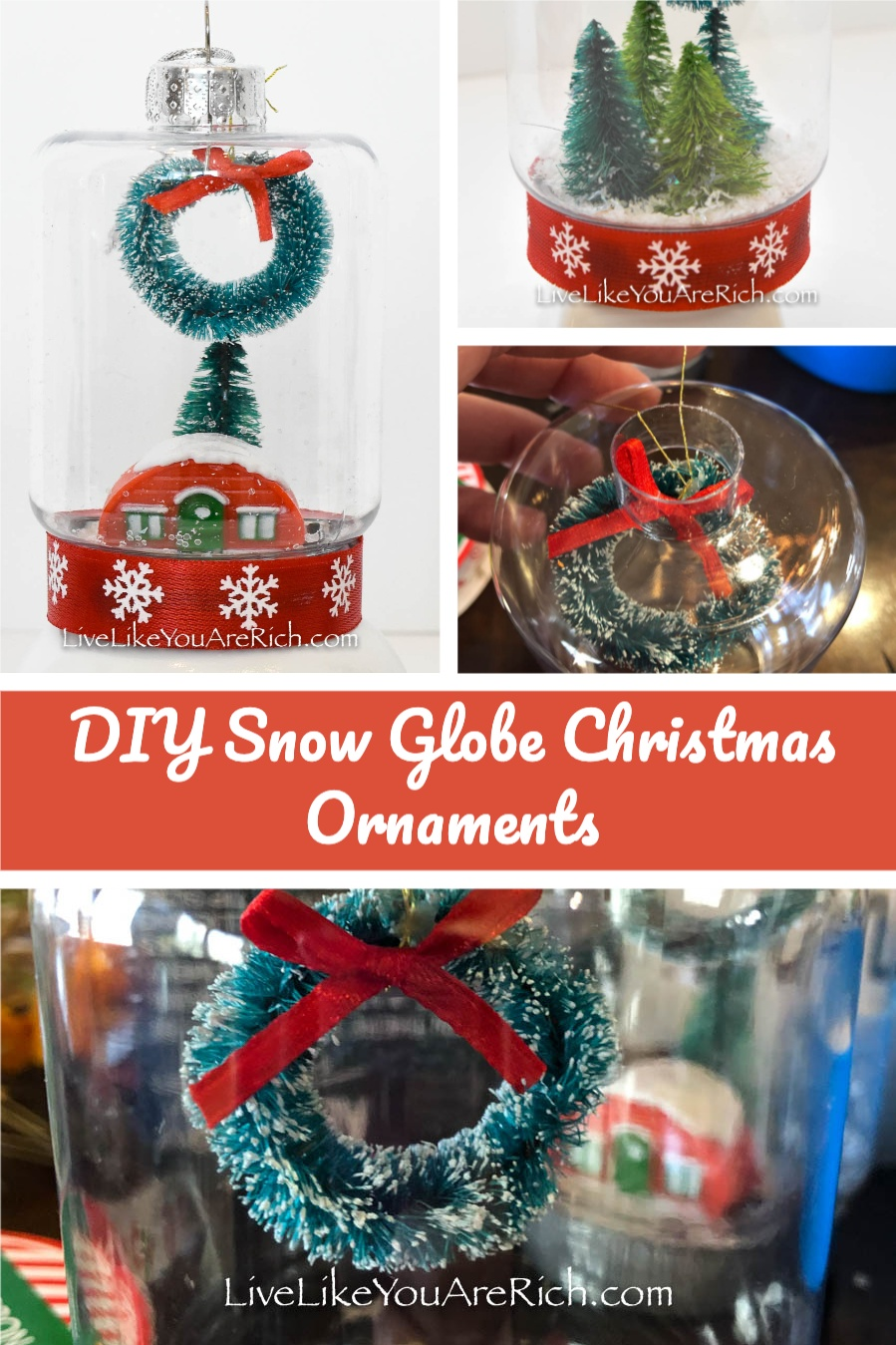I love snow globes. They are so whimsical and nostalgic. These are a bit of a twist on the standard snow globe, they are not filled with water and they are also Christmas tree ornaments.