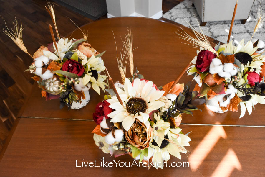 These are the finished flower arrangement.