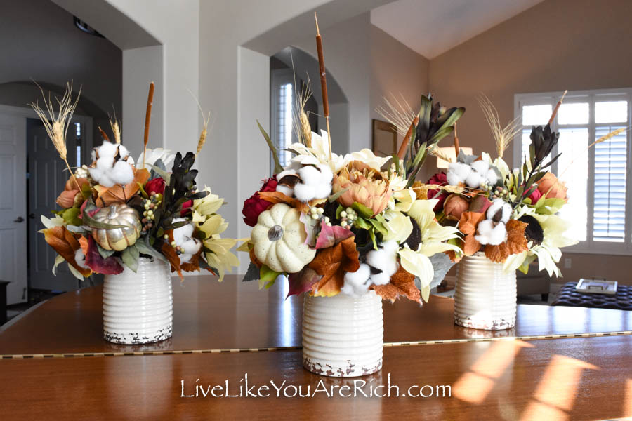 These arrange flowers can be used for Thanksgiving tablescape