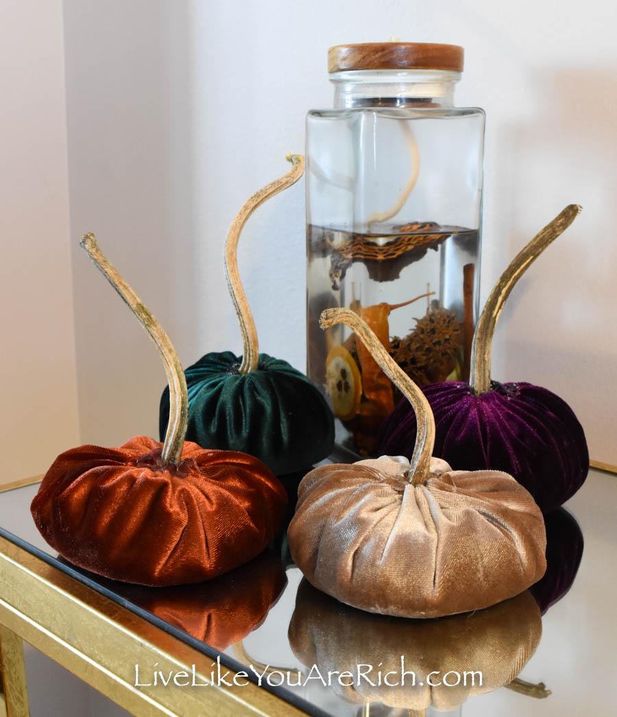 Easy DIY Fall velvet pumpkins