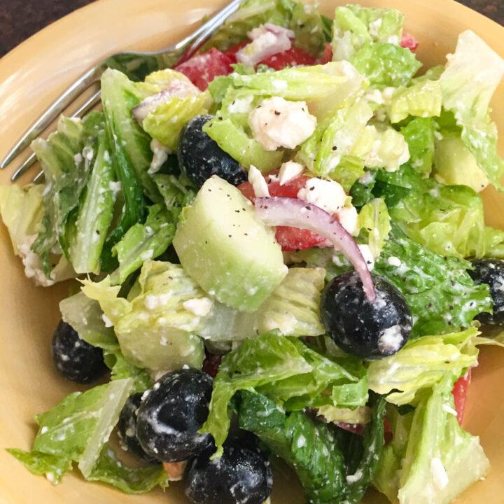 Greek Salad Recipe Using Lemon Juice and Olive Oil for Dressing