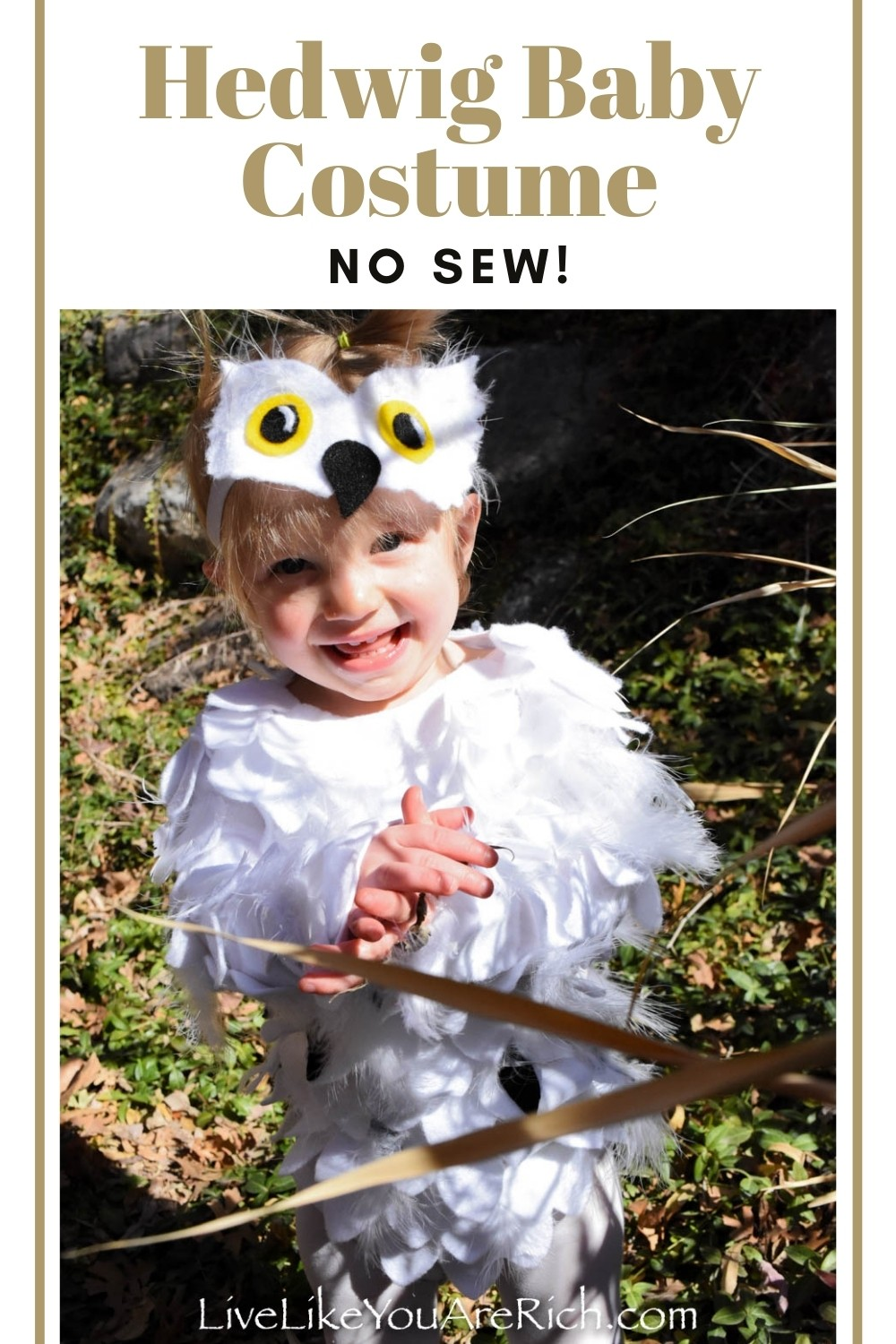 This is a great Hedwig no sew baby costume. It was easy, quick, inexpensive, and turned out very customized and cute. I also appreciated the fact that my baby didn't have to hold anything to wear it. The costume is similar to what she normally wears daily, so it felt natural and easy for her to walk around in. #halloweencostume #harrypotter #hedwigbabyowlcostume