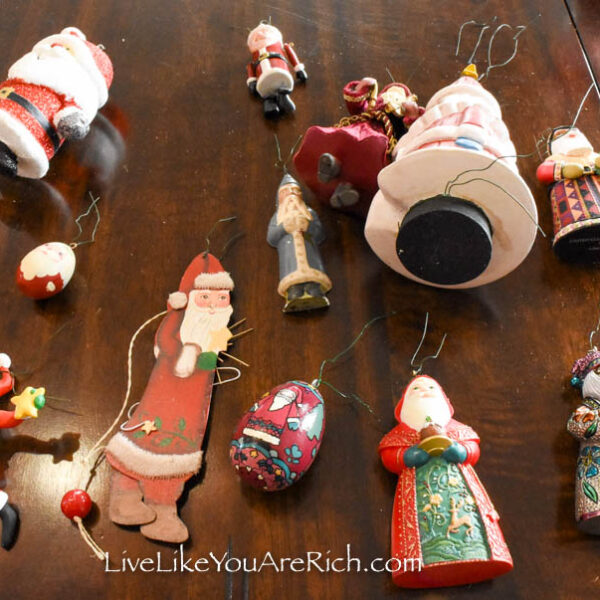 Santa Christmas ornaments in different shapes