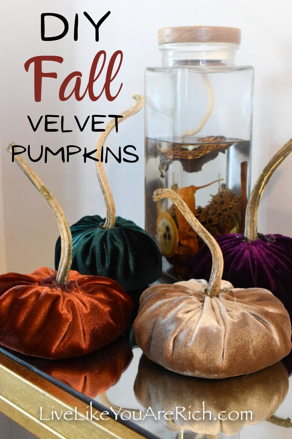 Looking for fun craft to make with your kids? These DIY Fall velvet pumpkins are inexpensive and simple to make. My six year old daughter and I put them together in less than 45 minutes. This would make such a group craft and also a fun craft to make with kids. #fall #fallcraft #pumpkin