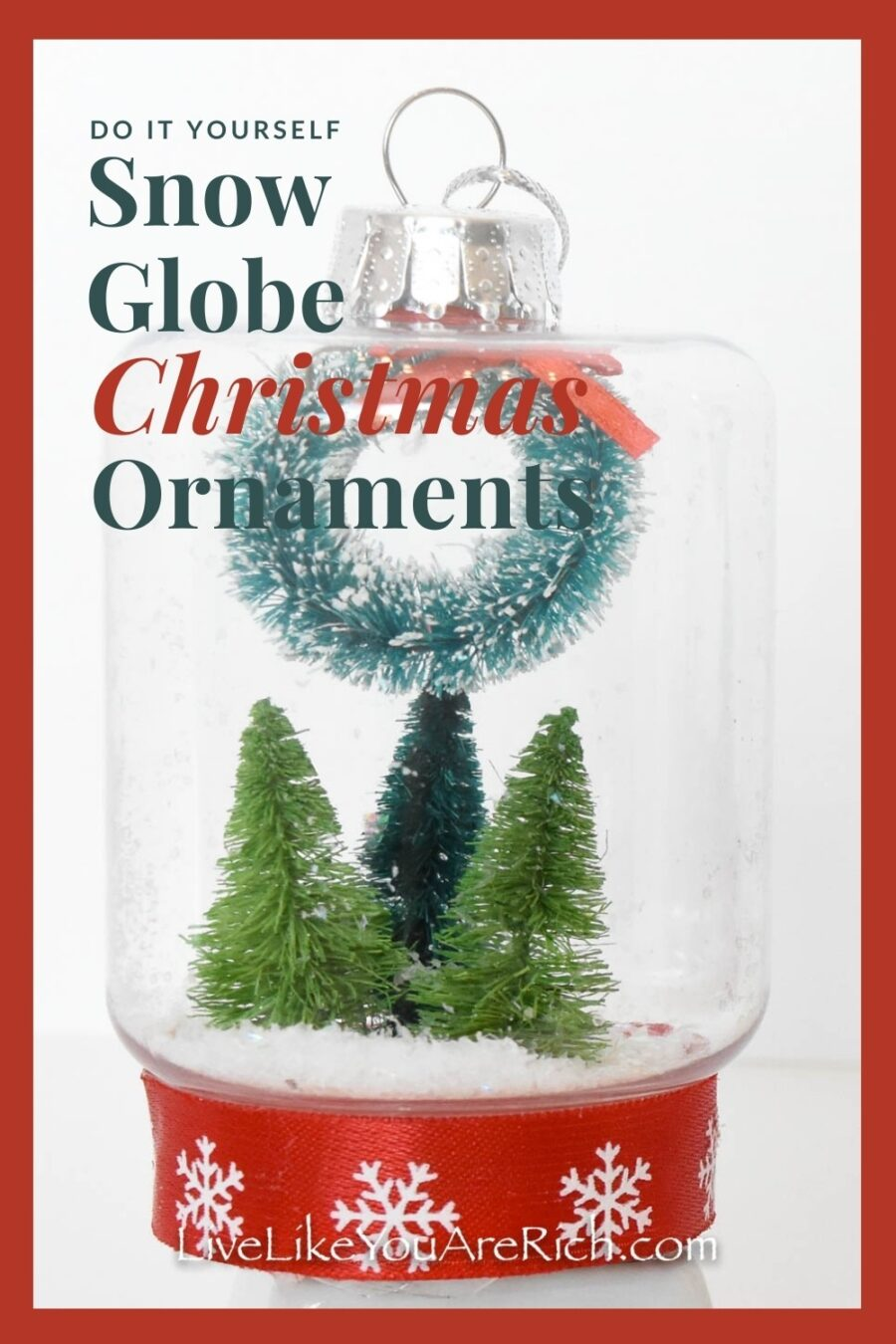 These DIY Snow Globe Christmas Ornaments were only about $3.00 each to make. They were super fun to put together and only took a few minutes each. I love snow globes. They are so whimsical and nostalgic. These are a bit of a twist on the standard snow globe, they are not filled with water and they are also Christmas tree ornaments.