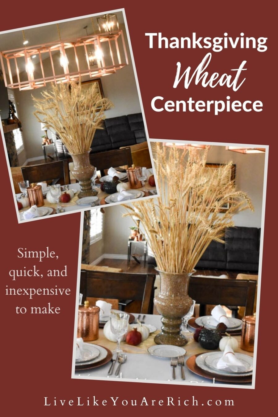 This is a very simple, quick, and inexpensive Thanksgiving Wheat Centerpiece that is affordable, and fun to decorate with. I hope it turns out well for you too. #thanksgiving #thanksgivingwreath