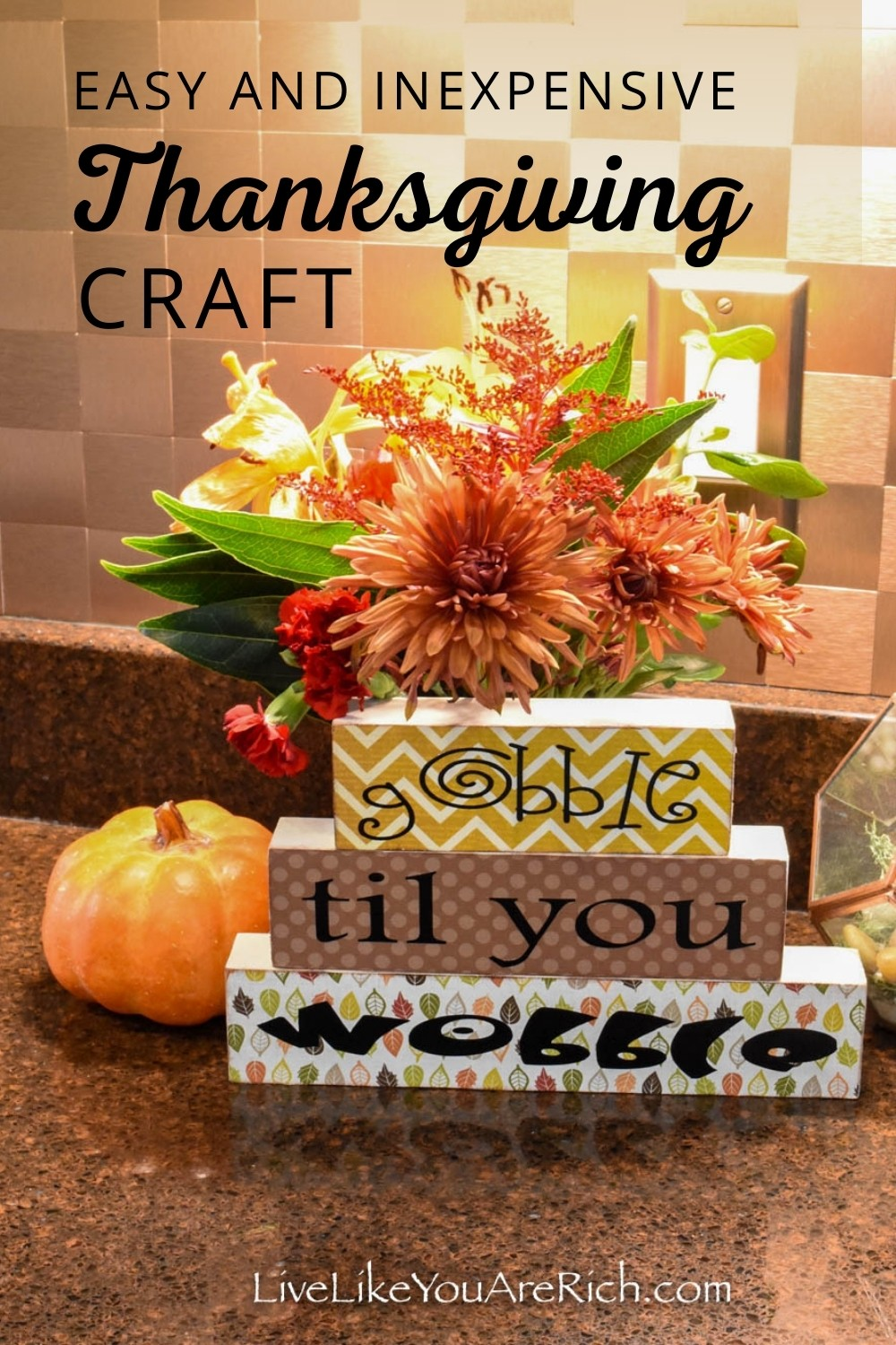 I think this Gobble Til You Wobble Wood Block Thanksgiving Craft is so cute. It is simple, inexpensive and fun. Here's how to make it in just about 30 minutes or less. #thanksgivingcraft #homedecor