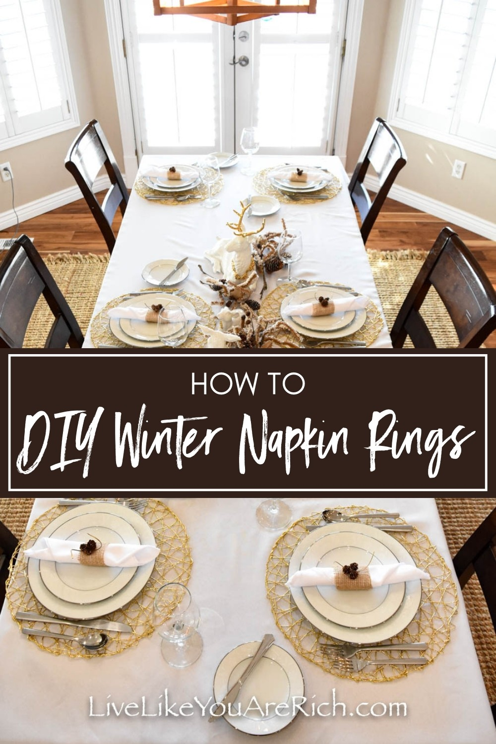 Recently, I decided to make these DIY Winter Napkin Rings to match my white winter tablescape. These napkin rings came together pretty last minute. I had about 2 hours before some family arrived for a Christmas dinner and I still hadn't set the table or finished the food! It only takes 45 minutes to make 10 of these napkin rings.