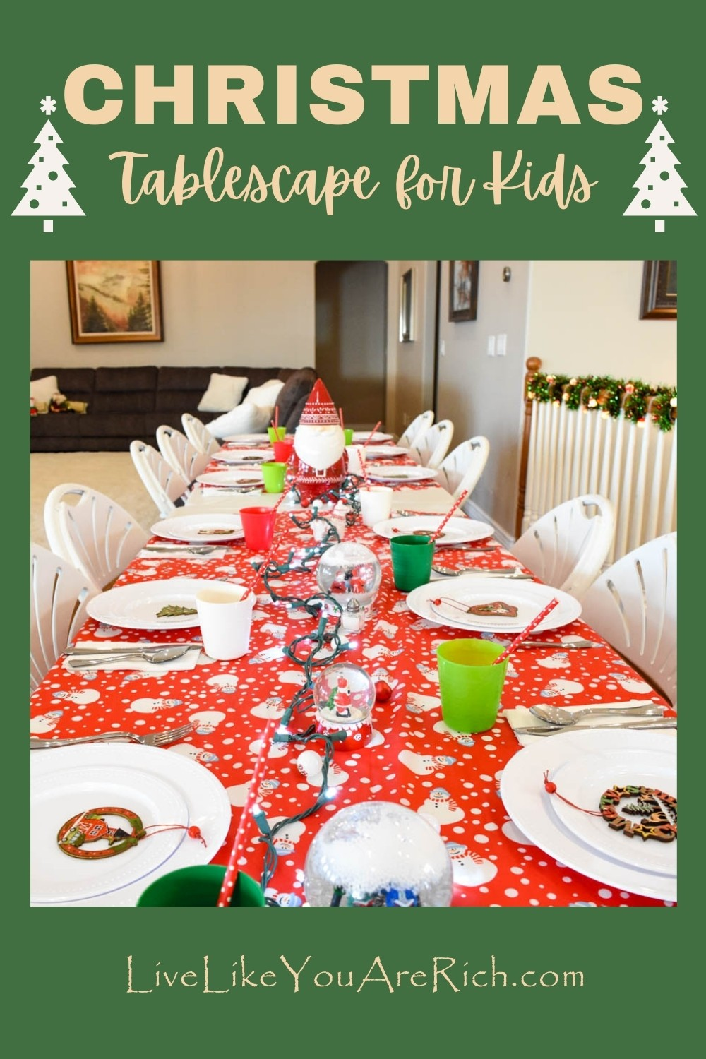 This is a fun Christmas tablescape for kids. My kids love Christmas! They love the lights, sledding and building of snowmen, thoughts of Santa, Christmas movies, cookie making, present opening and giving, gingerbread house building, etc. It has been so fun to see the magic in my children's lives doing these fun activities each Christmas.