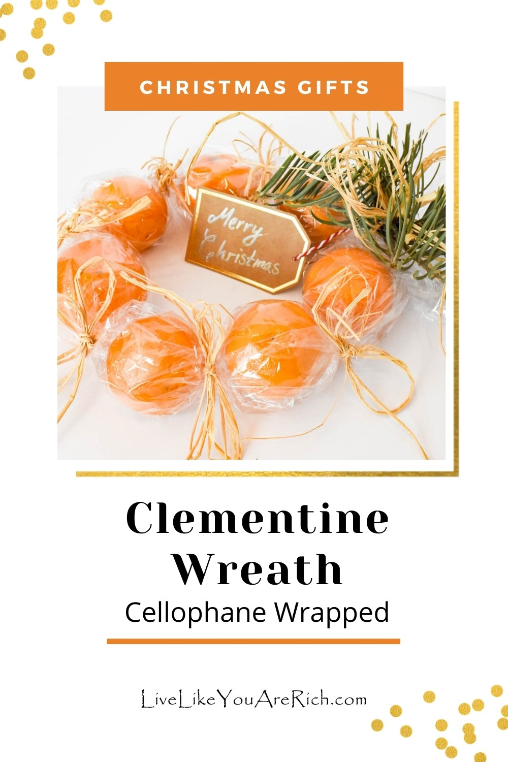 This clementine wreath-cellphone wrapped is a nice way to show appreciation to a friend, relative or neighbor for Christmas. These are easy to make—albeit a bit time consuming if you are trying to make a lot of them, but the end result is worth it! They take about 10 minutes each if you are making them alone.