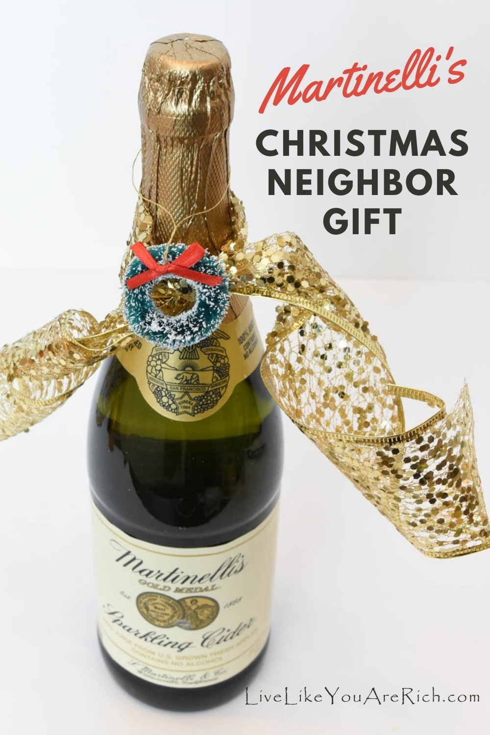 A Martinelli's Christmas neighbor gift is a great way to share the holiday season with others. Giving Martinelli's as a Neighbor Christmas Gift can be inexpensive if found on sale. It is also an overall a crowd-pleasing gift, and its quick put together as well. All great things to consider when you are deciding what to give out to your neighbors this year.