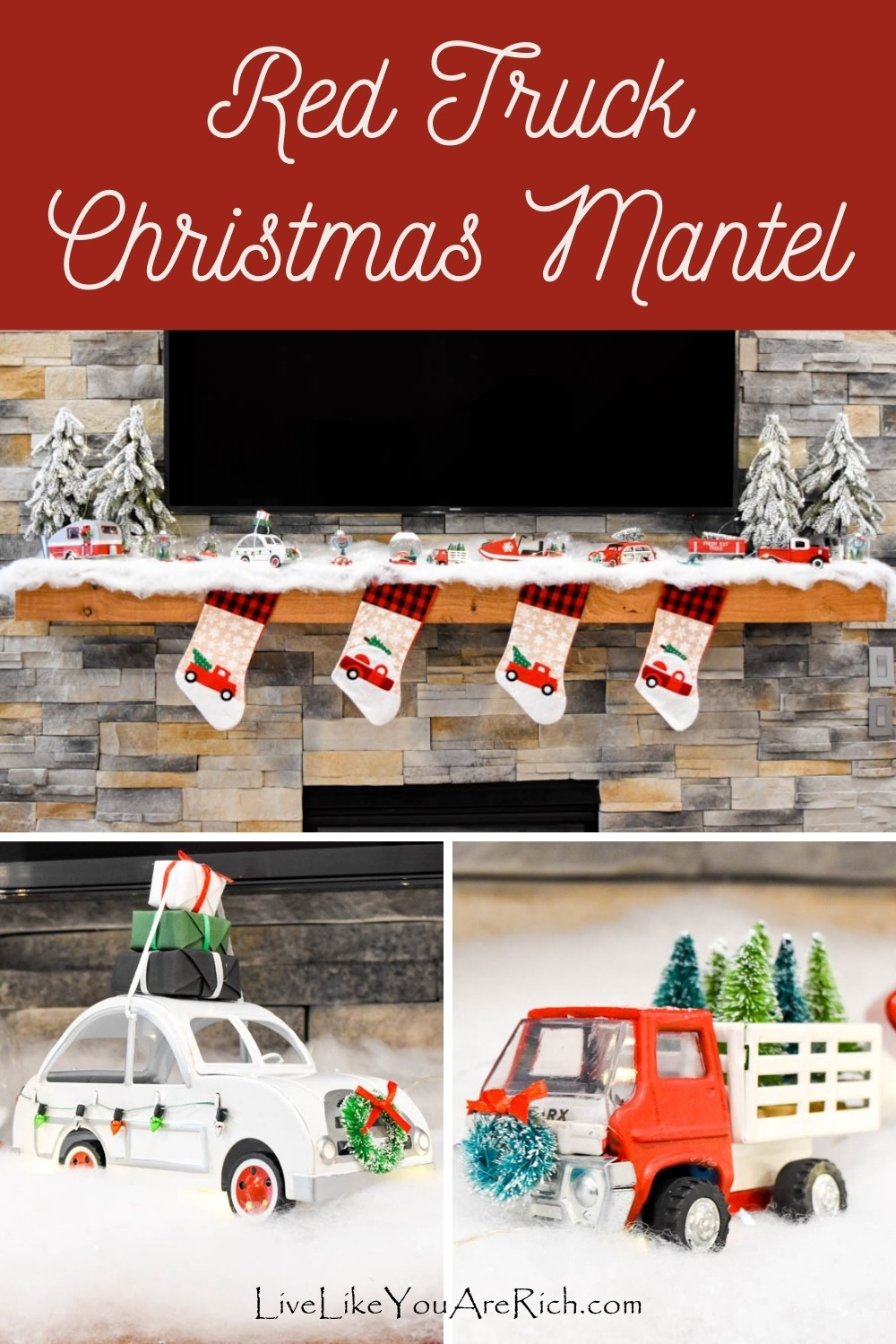 This year, 2020, I made a Red Truck Christmas Mantel scene above my fireplace. Over the past couple of years, the Red Truck Christmas tree decor started popping up here and there. Whenever I saw it, I thought it was so cute! I don't always hop on the trendy-decor-bandwagon, but with this theme I totally did because I love it.