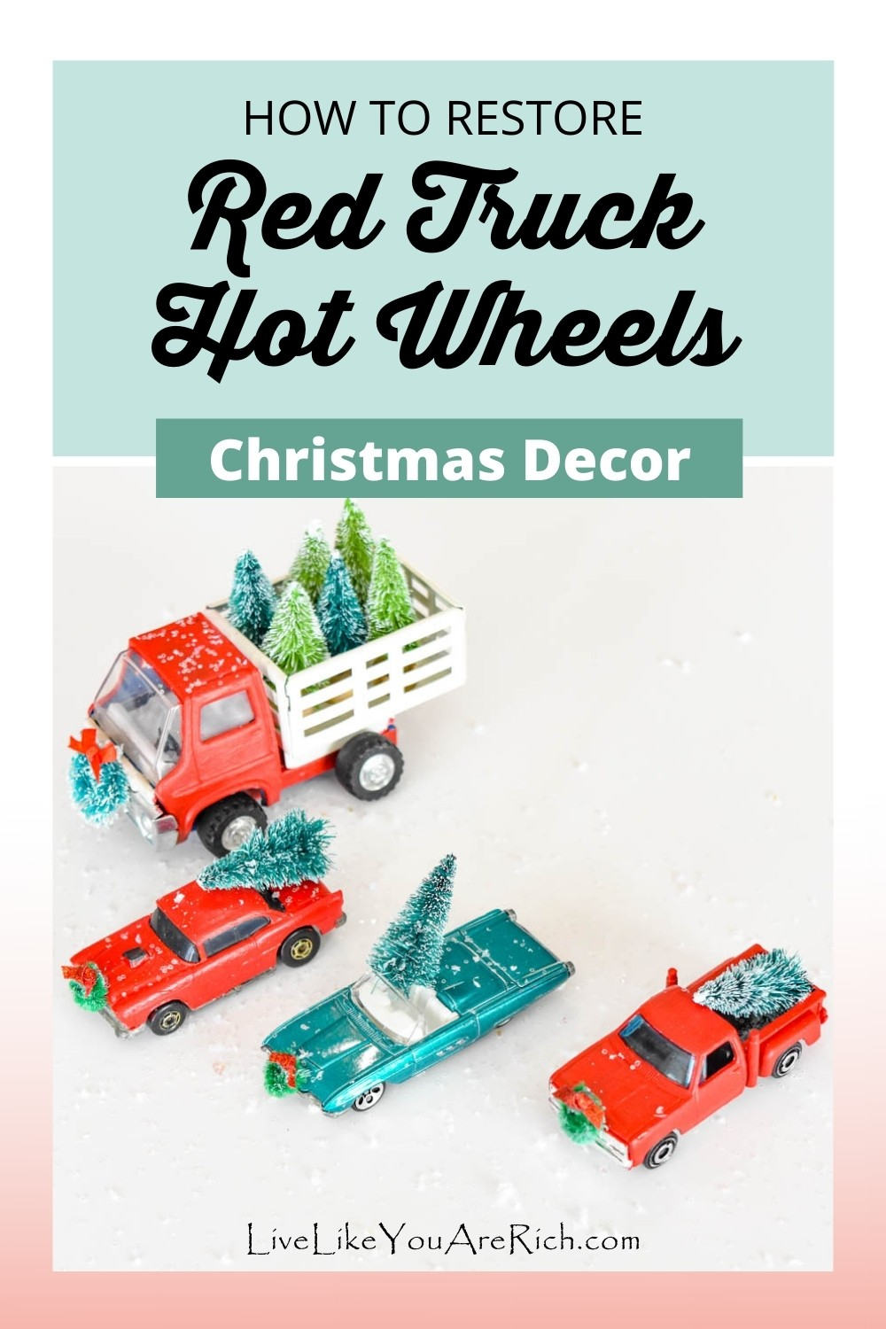 """This Christmas red truck hot wheels restoration craft is fun, inexpensive and quick. Plus, they make really cute decorations when finished. I don't always decorate with """"trendy"""" decorations. However, I couldn't help but decorate in the Red Truck Christmas theme this year. It is the right balance of vintage and cutesy, fun and classy."""