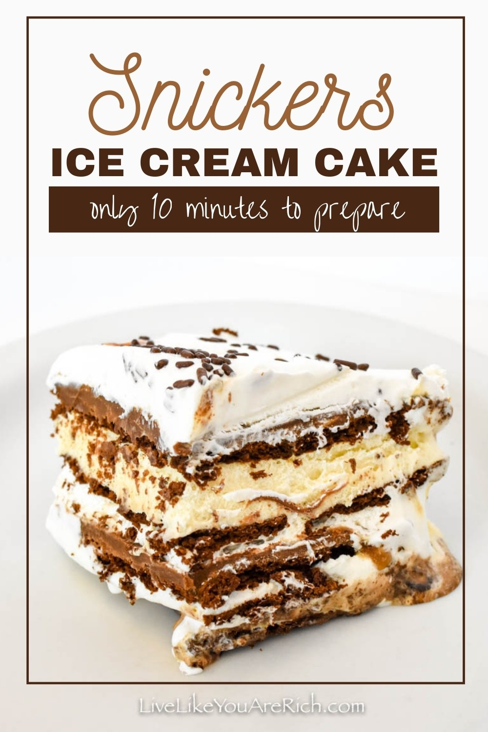 A delicious Ice Cream cake that tastes just like a Snickers Bar! Easy to assemble and well loved. This Snickers Ice Cream Cake was super easy to put together, it took about 10 minutes is all.